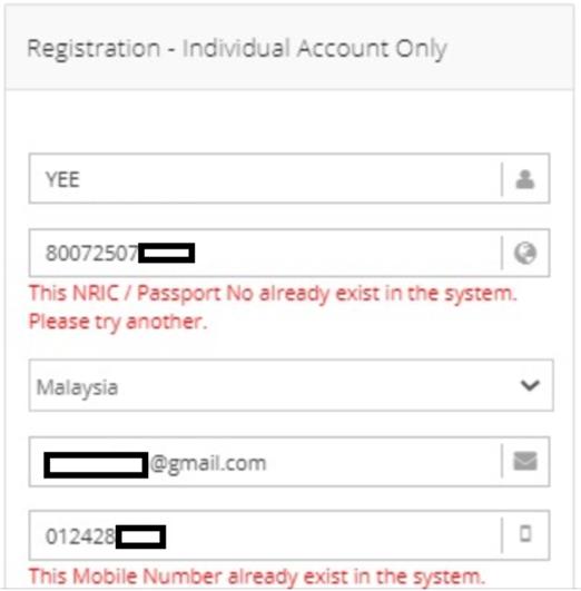 NRIC Phone Already Exists